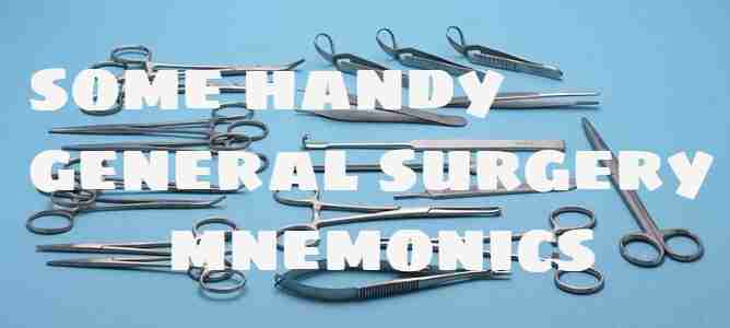Some handy general surgery mnemonics